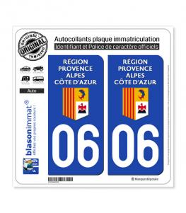 06 Région Sud - LogoType | Autocollant plaque immatriculation