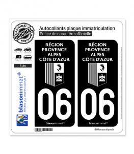 06 Région Sud - LogoType Black | Autocollant plaque immatriculation