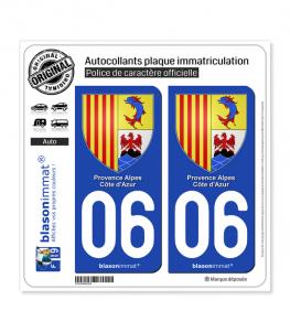 06 PACA - Armoiries | Autocollant plaque immatriculation