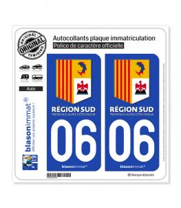 06 PACA - Région Sud | Autocollant plaque immatriculation