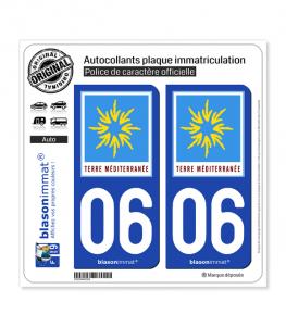 06 PACA - Terre Méditerranée | Autocollant plaque immatriculation