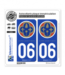 06 Alpes-Maritimes - Département | Autocollant plaque immatriculation