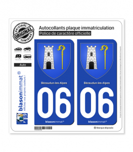 06 Bézaudun-les-Alpes - Armoiries | Autocollant plaque immatriculation