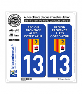 13 Région Sud - LogoType | Autocollant plaque immatriculation