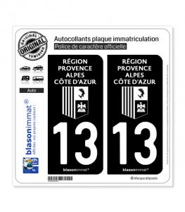 13 Région Sud - LogoType Black | Autocollant plaque immatriculation