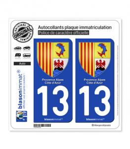 13 PACA - Armoiries | Autocollant plaque immatriculation