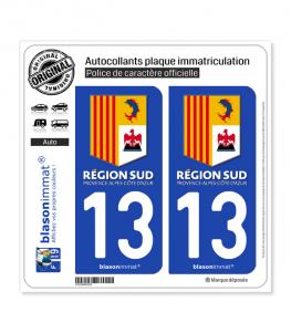 13 PACA - Région Sud | Autocollant plaque immatriculation