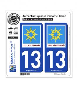 13 PACA - Terre Méditerranée | Autocollant plaque immatriculation