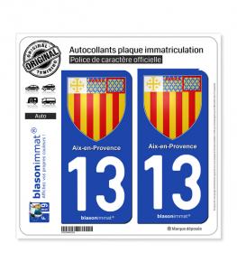 13 Aix-en-Provence - Armoiries | Autocollant plaque immatriculation