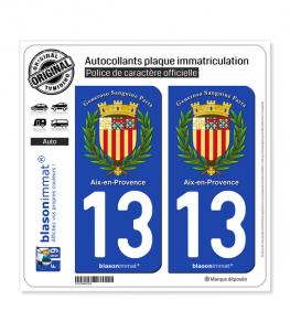13 Aix-en-Provence - Armoiries II | Autocollant plaque immatriculation