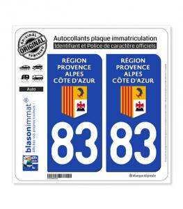 83 Région Sud - LogoType | Autocollant plaque immatriculation
