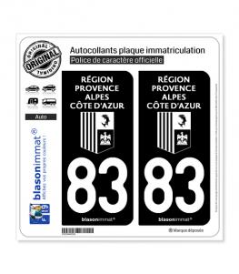 83 Région Sud - LogoType Black | Autocollant plaque immatriculation