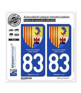 83 PACA - Armoiries | Autocollant plaque immatriculation