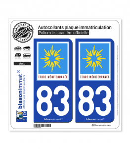 83 PACA - Terre Méditerranée | Autocollant plaque immatriculation