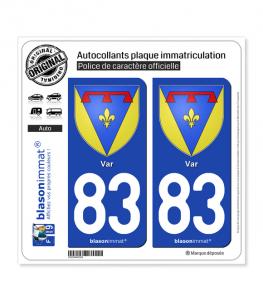 83 Var - Armoiries | Autocollant plaque immatriculation