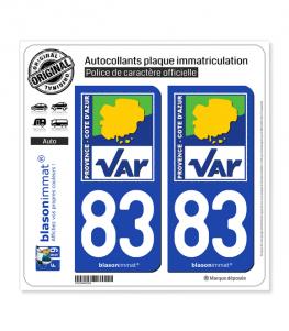 83 Var - Département | Autocollant plaque immatriculation