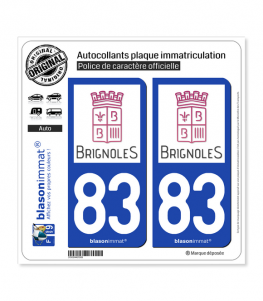 83 Brignoles - Ville | Autocollant plaque immatriculation