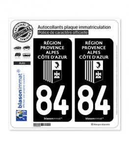84 Région Sud - LogoType Black | Autocollant plaque immatriculation