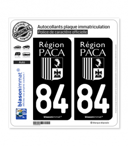 84 PACA - LogoType Black | Autocollant plaque immatriculation