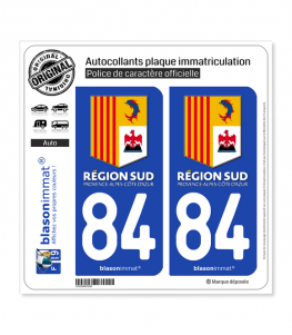 84 PACA - Région Sud | Autocollant plaque immatriculation