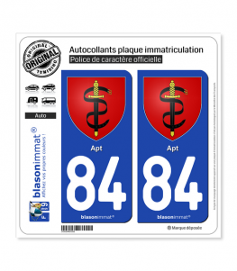 84 Apt - Armoiries | Autocollant plaque immatriculation