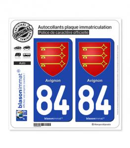 84 Avignon - Armoiries   Autocollant plaque immatriculation