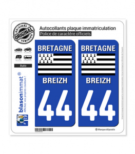 44 Bretagne - Drapeau Historique | Autocollant plaque immatriculation
