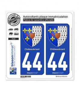 44 Châteaubriant - Armoiries | Autocollant plaque immatriculation