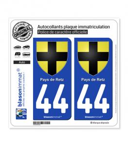44 Pays de Retz - Armoiries | Autocollant plaque immatriculation
