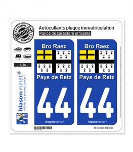 44 Pays de Retz - Drapeau | Autocollant plaque immatriculation