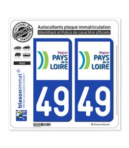 49 Pays de la Loire - LogoType | Autocollant plaque immatriculation