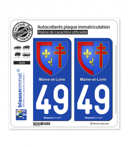 49 Maine-et-Loire - Armoiries | Autocollant plaque immatriculation
