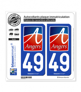 49 Angers - Ville | Autocollant plaque immatriculation