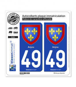 49 Anjou - Armoiries | Autocollant plaque immatriculation