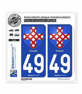 49 Cholet - Armoiries | Autocollant plaque immatriculation