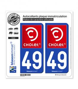49 Cholet - Ville | Autocollant plaque immatriculation