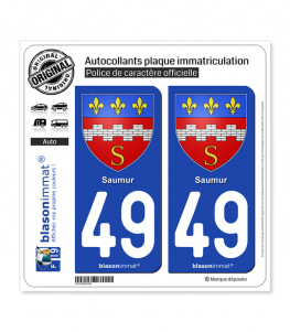 49 Saumur - Armoiries | Autocollant plaque immatriculation