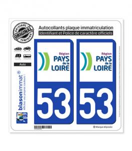 53 Pays de la Loire - LogoType | Autocollant plaque immatriculation