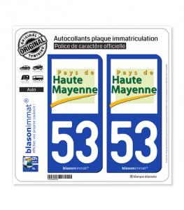 53 Haute Mayenne - Pays | Autocollant plaque immatriculation