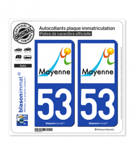 53 Mayenne - Ville | Autocollant plaque immatriculation
