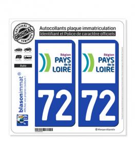72 Pays de la Loire - LogoType | Autocollant plaque immatriculation