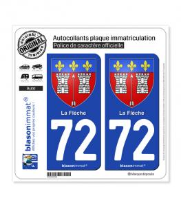 72 La Flèche - Armoiries | Autocollant plaque immatriculation
