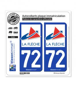 72 La Flèche - Ville | Autocollant plaque immatriculation