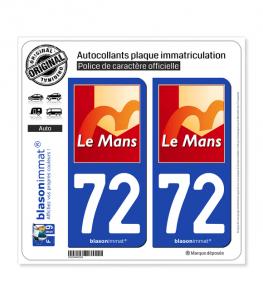 72 Le Mans - Ville | Autocollant plaque immatriculation