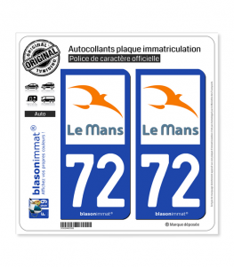 72 Le Mans - Agglo | Autocollant plaque immatriculation