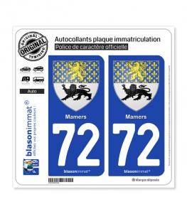 72 Mamers - Armoiries | Autocollant plaque immatriculation
