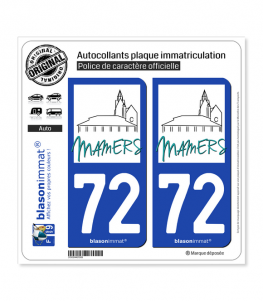 72 Mamers - Ville | Autocollant plaque immatriculation