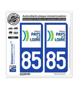 85 Pays de la Loire - LogoType | Autocollant plaque immatriculation