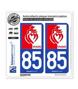 85 Vendée - Drapée | Autocollant plaque immatriculation