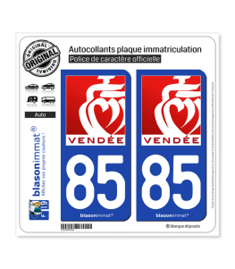 85 Vendée - Tourisme II | Autocollant plaque immatriculation